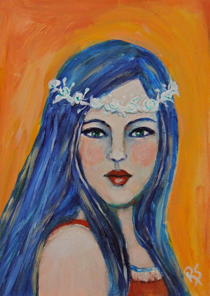 """Blue Island Girl"" original fine art by Roberta Schmidt"