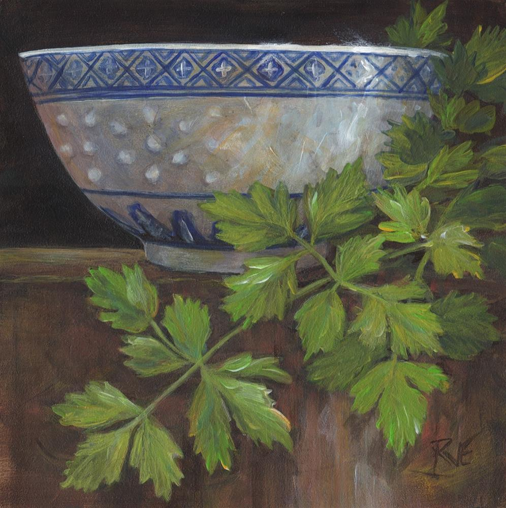 """#90  Chinese rice bowl and parsley"" original fine art by Ruth Van Egmond"