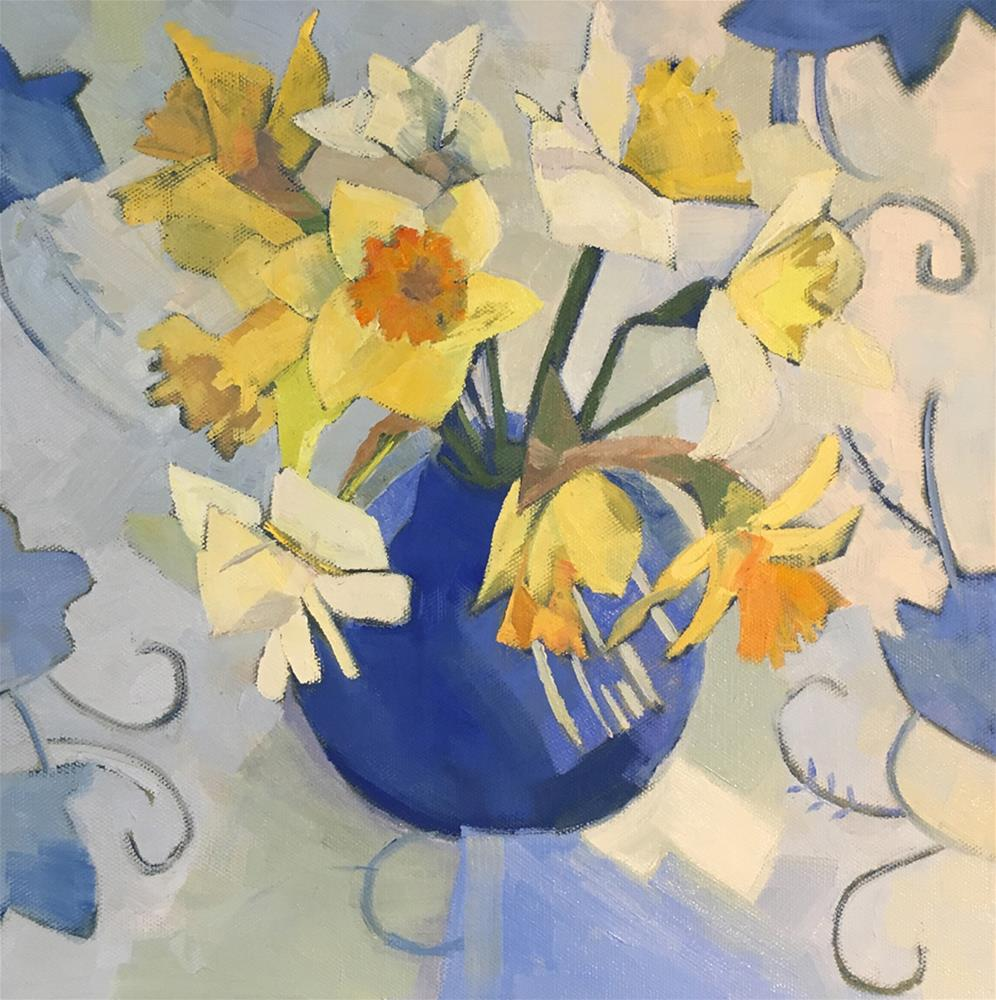 """Daffodils on a Blue Tablecloth"" original fine art by Anne Winthrop Cordin"