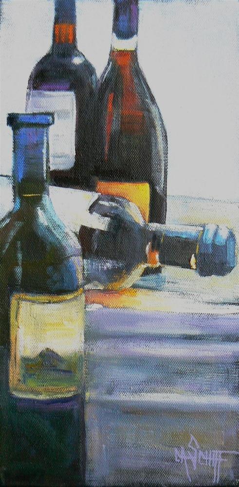 """Still Life Daily Painting, Wine Bottles"" original fine art by Carol Schiff"