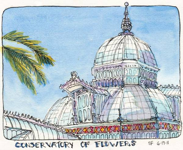 """Golden Gate Park Conservatory of Flowers"" original fine art by Jana Bouc"
