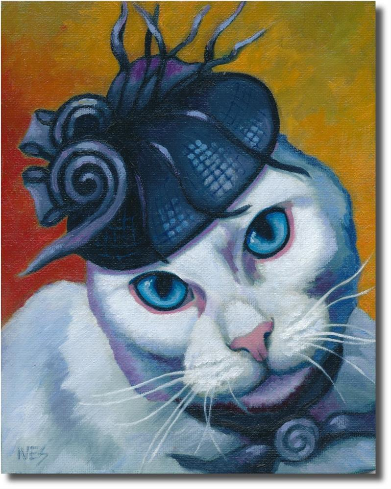 """Blues Eyes, White Cat Wearing Fancy Hat"" original fine art by Rk Ives"