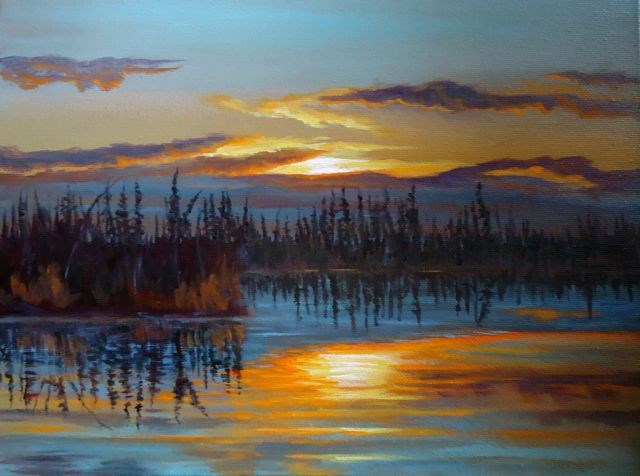 """Dragon Lake Sunset, Yukon"" original fine art by Jackie Irvine"