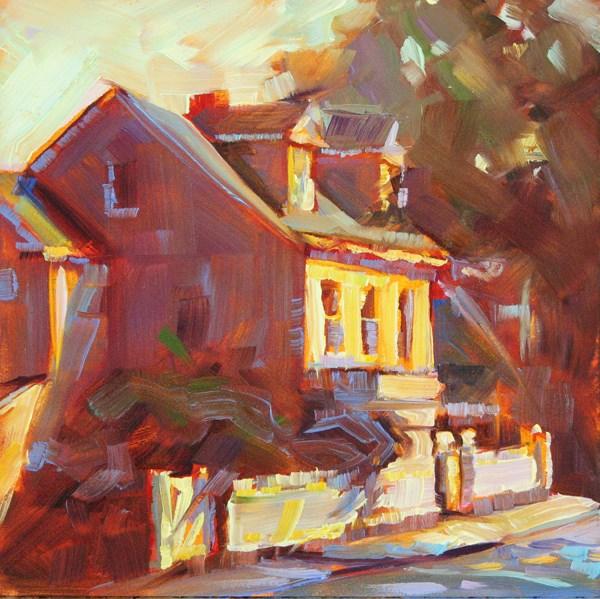 """""""White Fence"""" original fine art by Karen Bruson"""