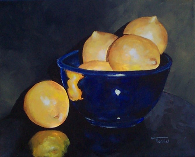 """Lemons in Blue Bowl II"" original fine art by Torrie Smiley"