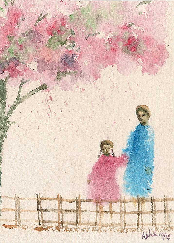 """under the cherry blossom tree"" original fine art by Asha Shenoy S"