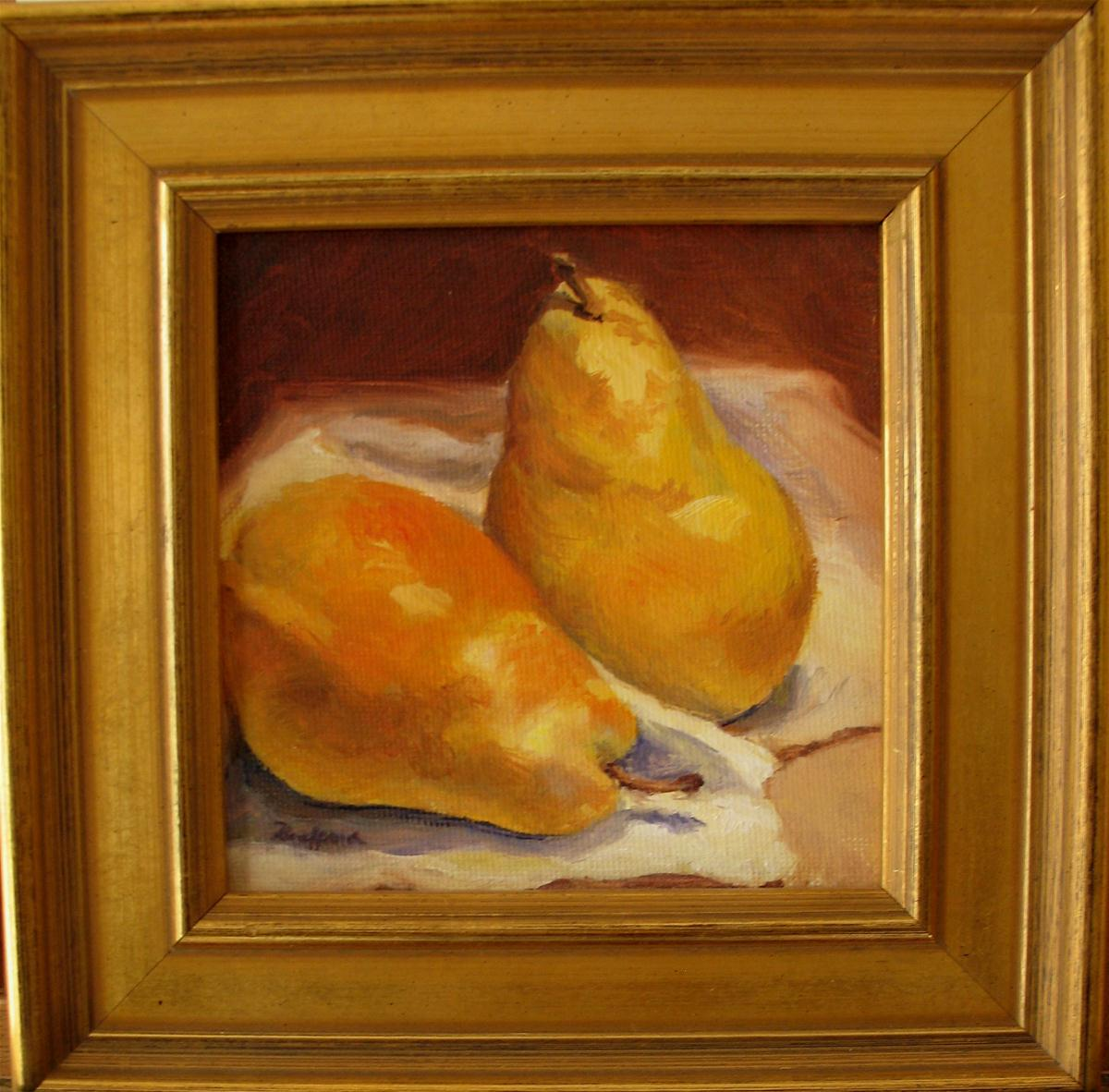"""Two Yellow Pears"" original fine art by Vikki Bouffard"