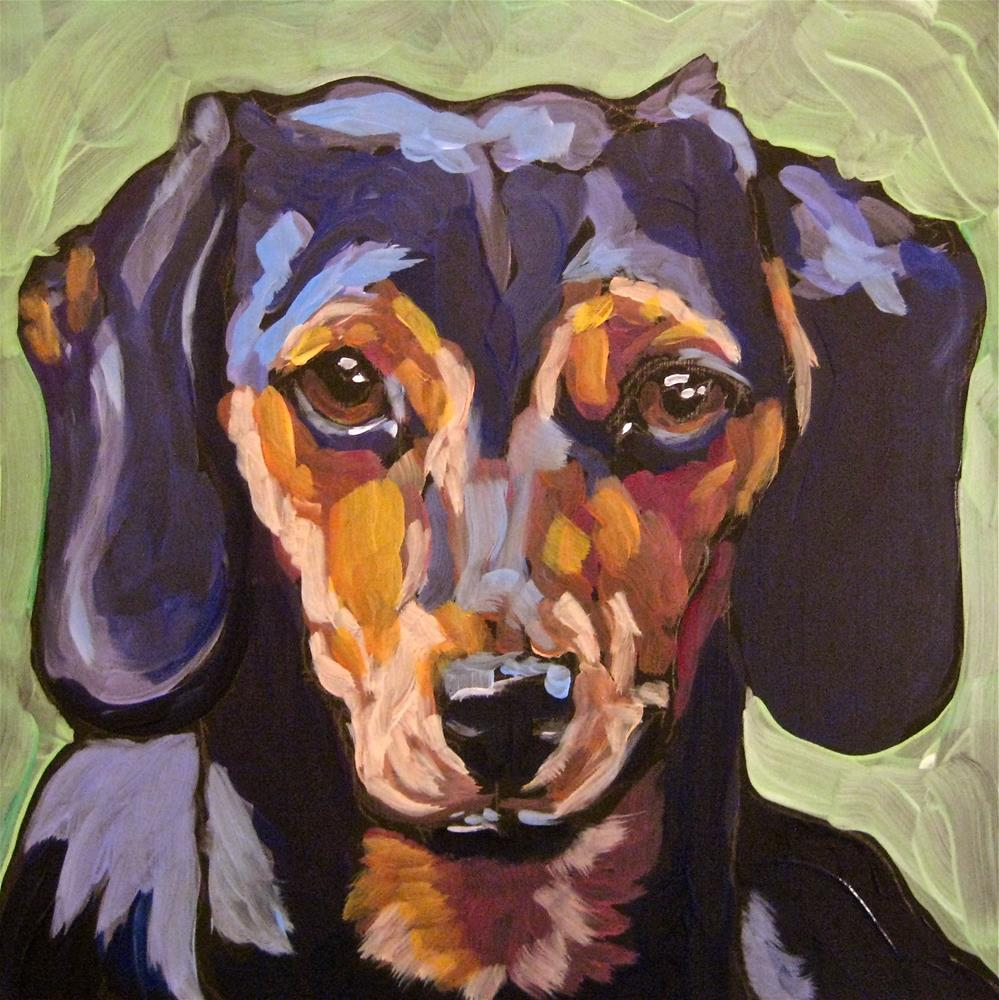 """Eddie, the wiener dog"" original fine art by Kat Corrigan"