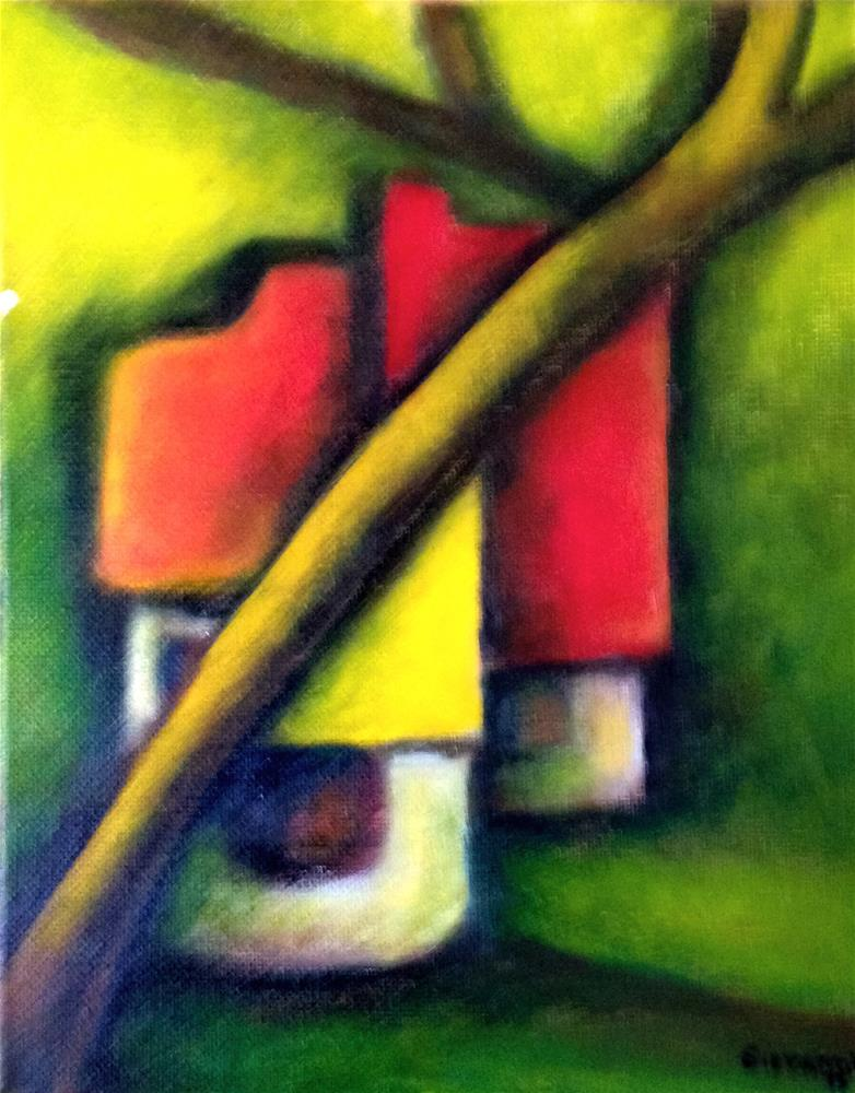 """Houses behind the tree"" original fine art by Giovanni Antunez"