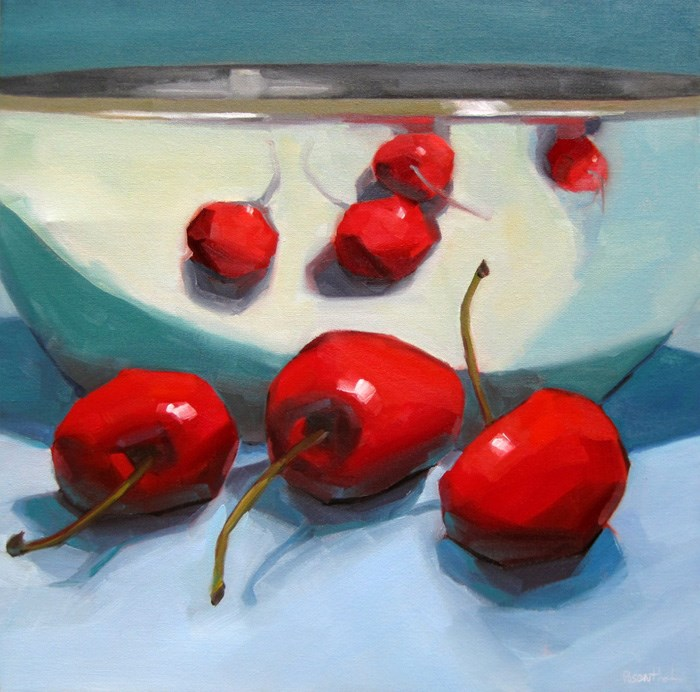 """Big Reflected Cherries"" original fine art by Robin Rosenthal"