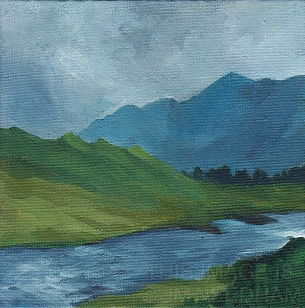 """River and Mountain"" original fine art by J M Needham"
