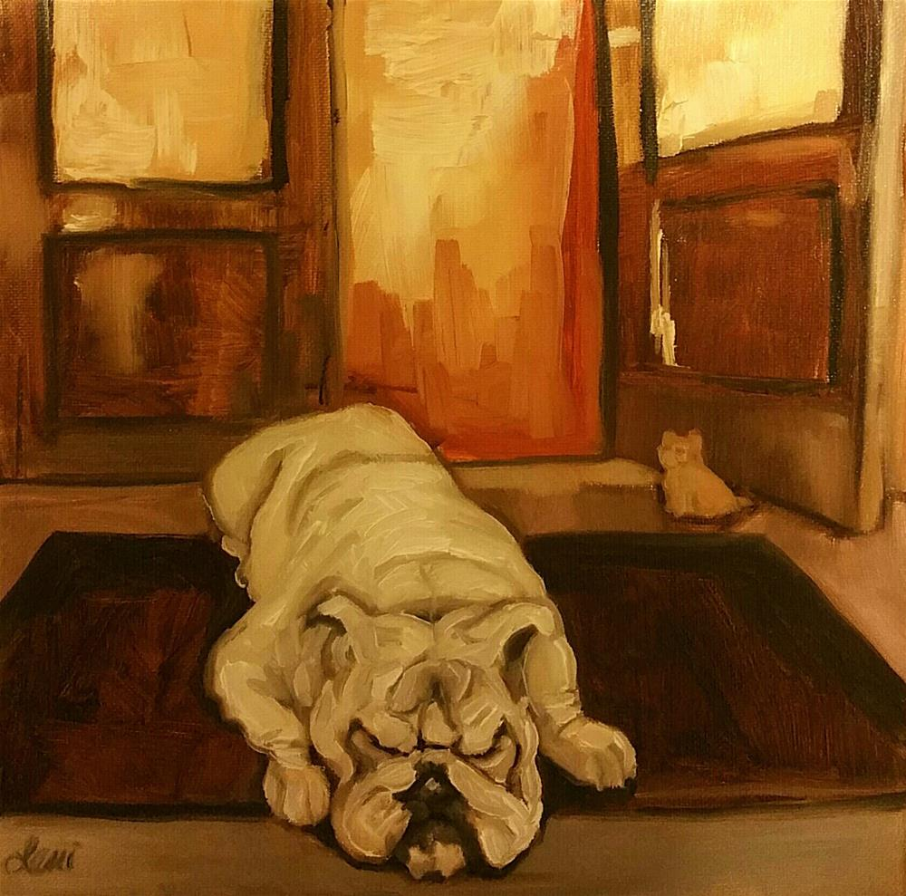 """Bulldog and Doorstop"" original fine art by Leni Tarleton"