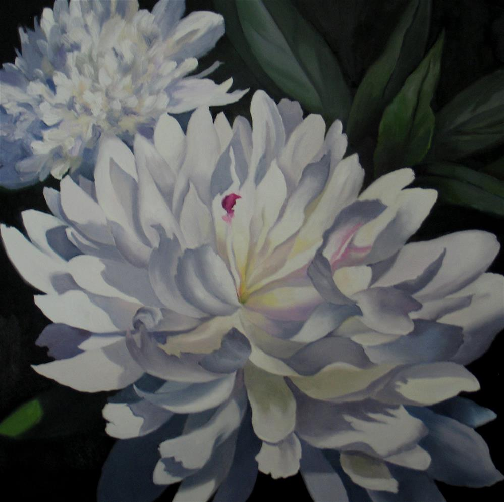 """""""White Peonies"""" original fine art by Nel Jansen"""