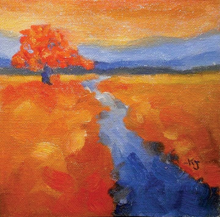 """#12 Lone Oak, Flame and Blue"" original fine art by Kathy Johnson"