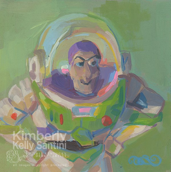 """Buzz Lightyear, Toy #7"" original fine art by Kimberly Santini"