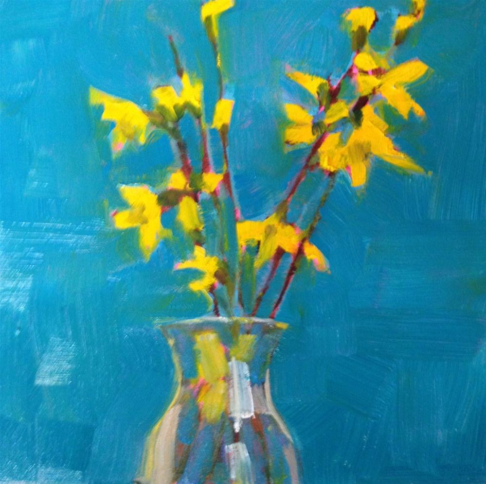 """Joyful, 6x6 Inch Oil Painting of Forsythia by Kelley MacDonald"" original fine art by Kelley MacDonald"