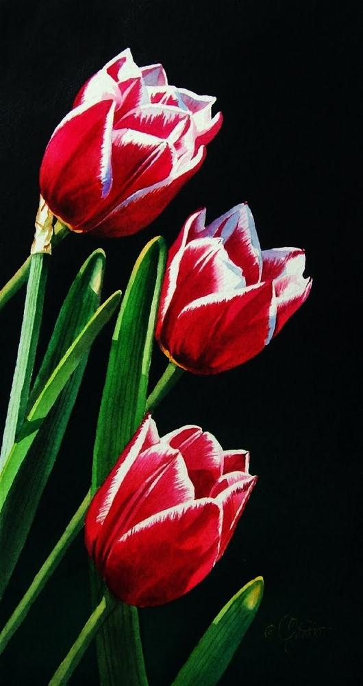 """Tulips trimmed in White"" original fine art by Jacqueline Gnott, TWSA, WHS"