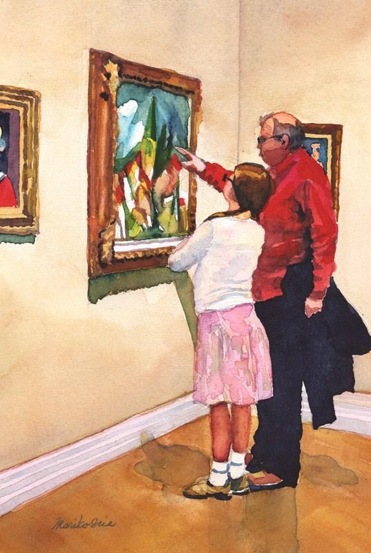 """""""Grandpa's Lecture"""" original fine art by Mariko Irie"""