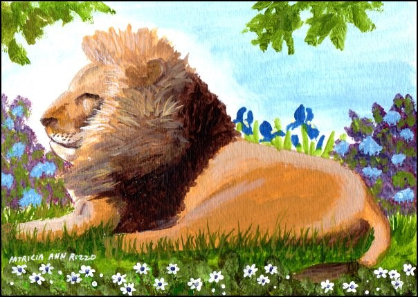 """A Lion in my Garden"" original fine art by Patricia Ann Rizzo"