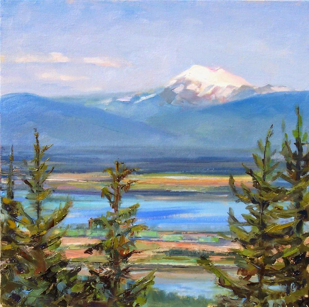 """View of Mt Baker,landscape,12x12,price$400"" original fine art by Joy Olney"
