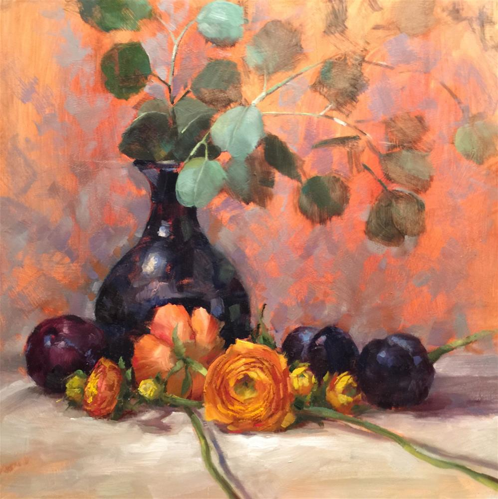 """Ranunculus & Plums"" original fine art by Krista Eaton"