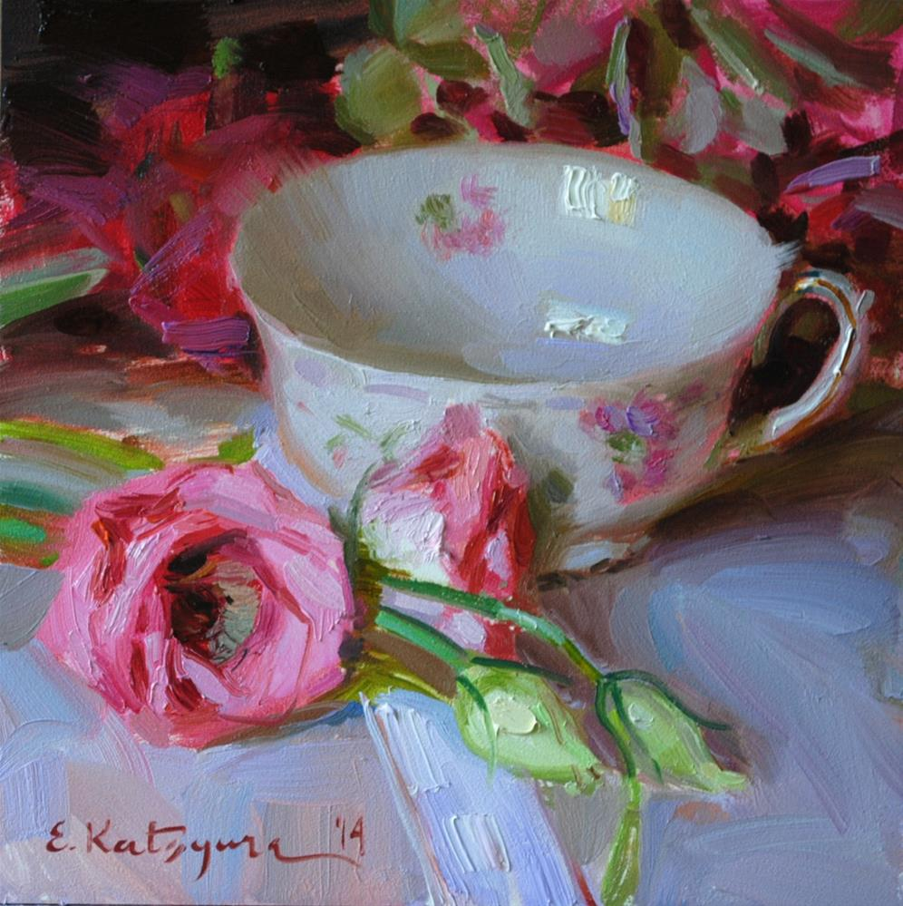 """Teacup and Rosebuds"" original fine art by Elena Katsyura"