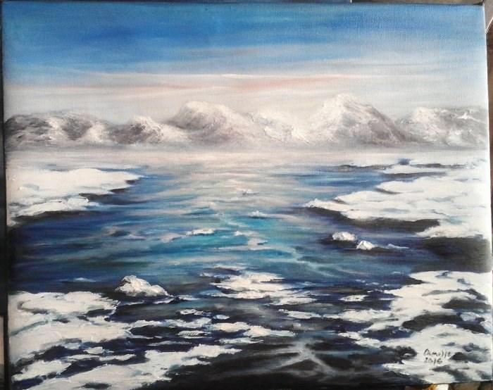 """Icy River"" original fine art by Camille Morgan"