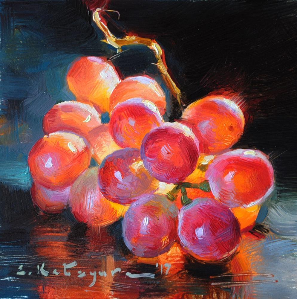"""Sweet Red Grapes"" original fine art by Elena Katsyura"