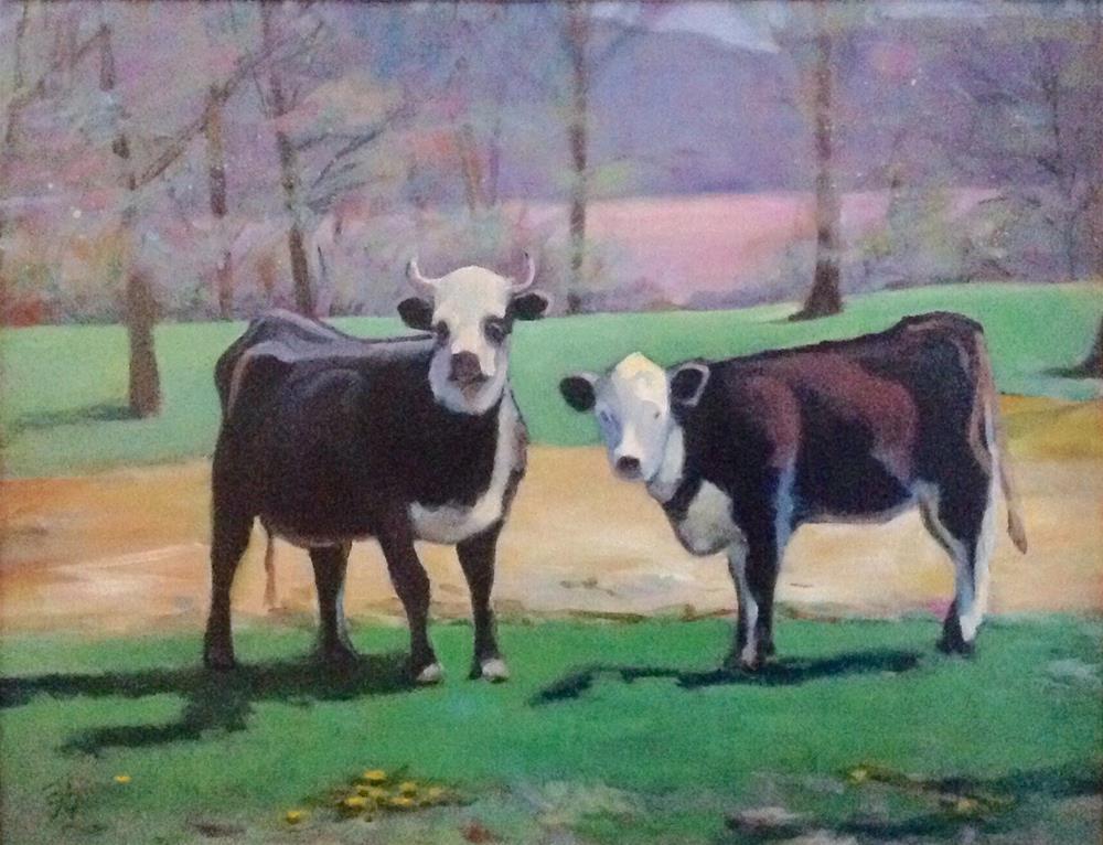 """Black Herefords in Spring Pasture"" original fine art by Susan Suraci"