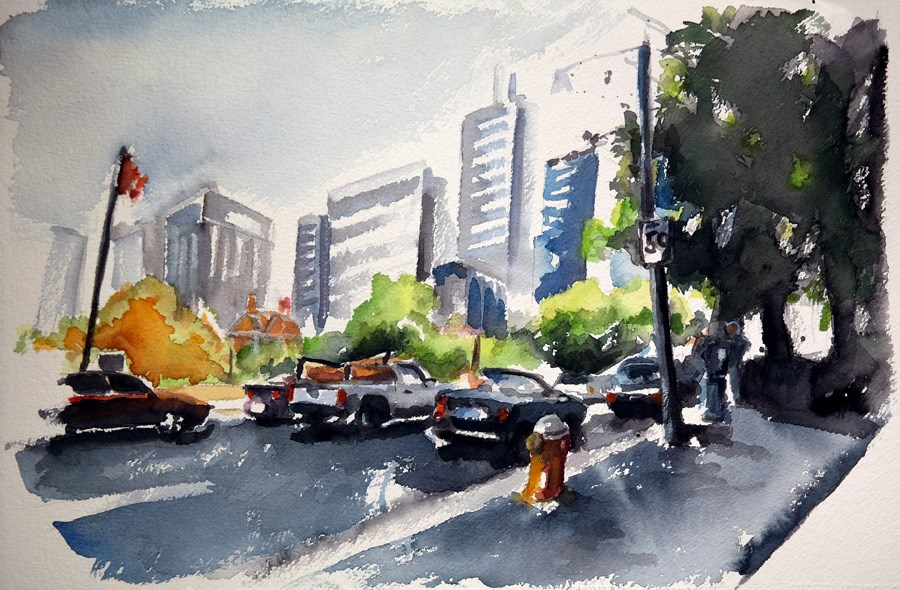 """1209 Through the City"" original fine art by Dietmar Stiller"
