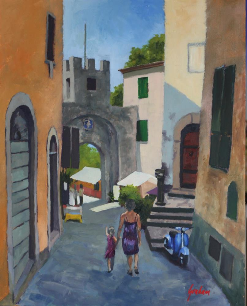 """To the city gate, Barga"" original fine art by Graham Townsend"