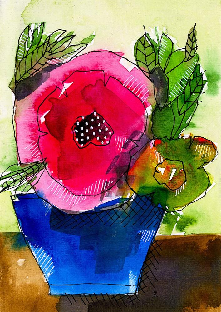 """Blue Pot Pink Petals"" original fine art by Tonya Doughty"