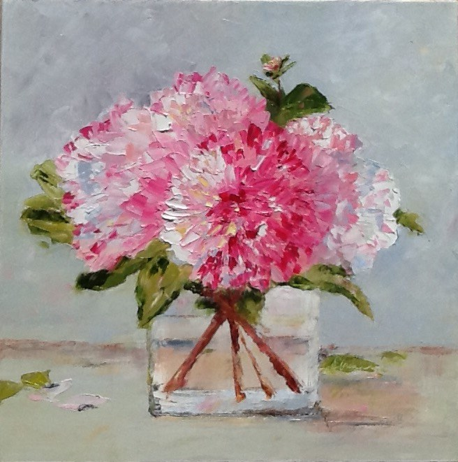 """Pink Dahlias"" original fine art by Elaine Ford"