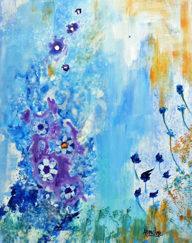 """Abstract Environmental Art ,Contemporary  Nature Seascape A Secret Garden  by International Abstra"" original fine art by Arrachme Art"