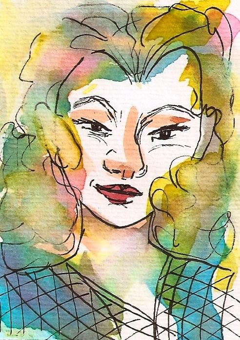 """Original ACEO:  Devilish Delight, Portrait/Face, Sketch Watercolor & Pen"" original fine art by Penny Lee StewArt"