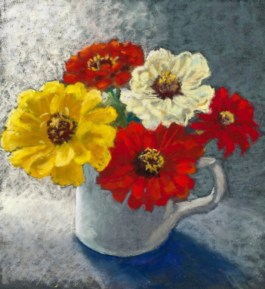 """Zany Zinnias"" original fine art by Christine Derrick"