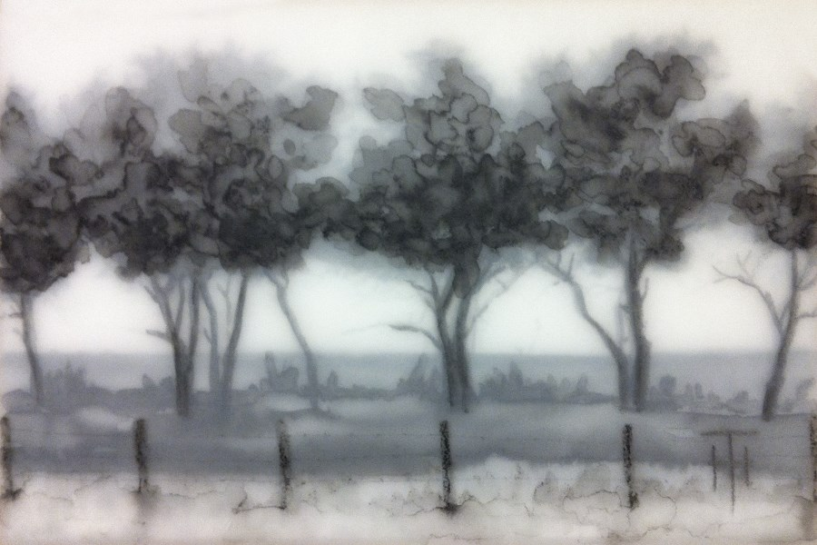 """Prairie Ridge of Trees"" original fine art by Terri Heinrichs"