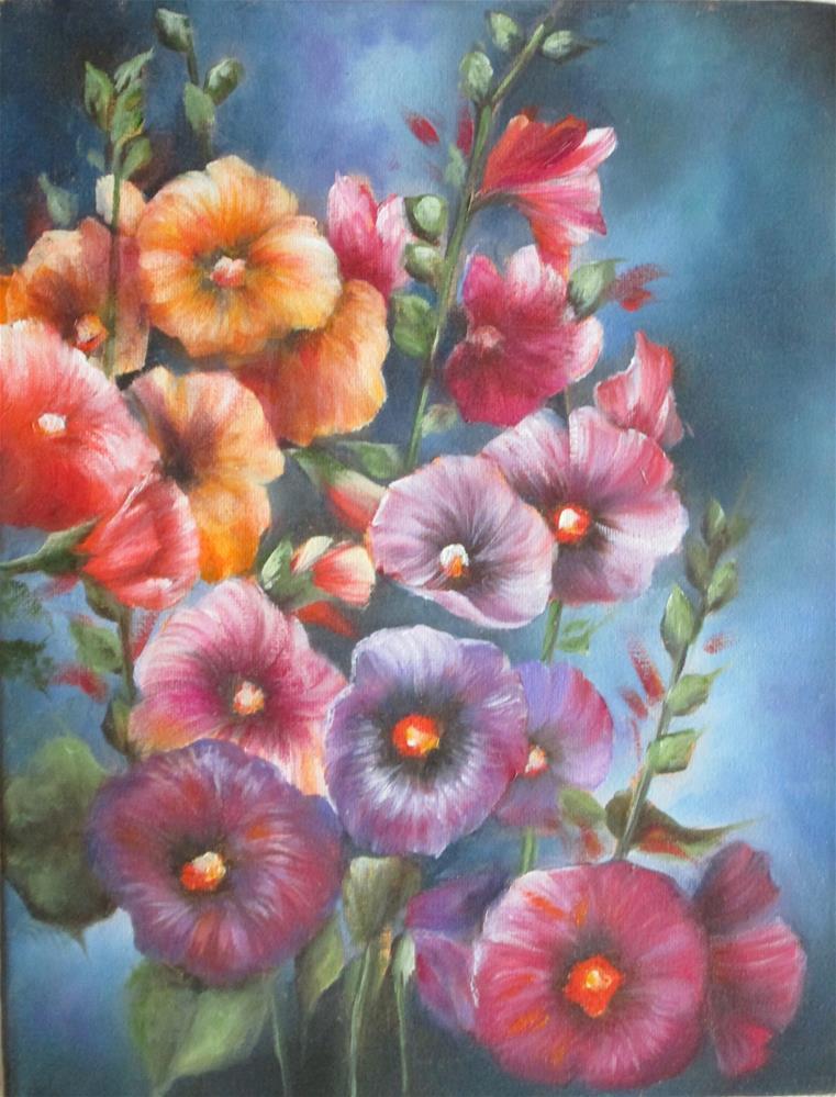 """Hollyhocks"" original fine art by Barbara Wagner"