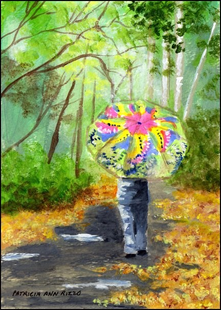"""Bright Umbrella, Rainy Day"" original fine art by Patricia Ann Rizzo"