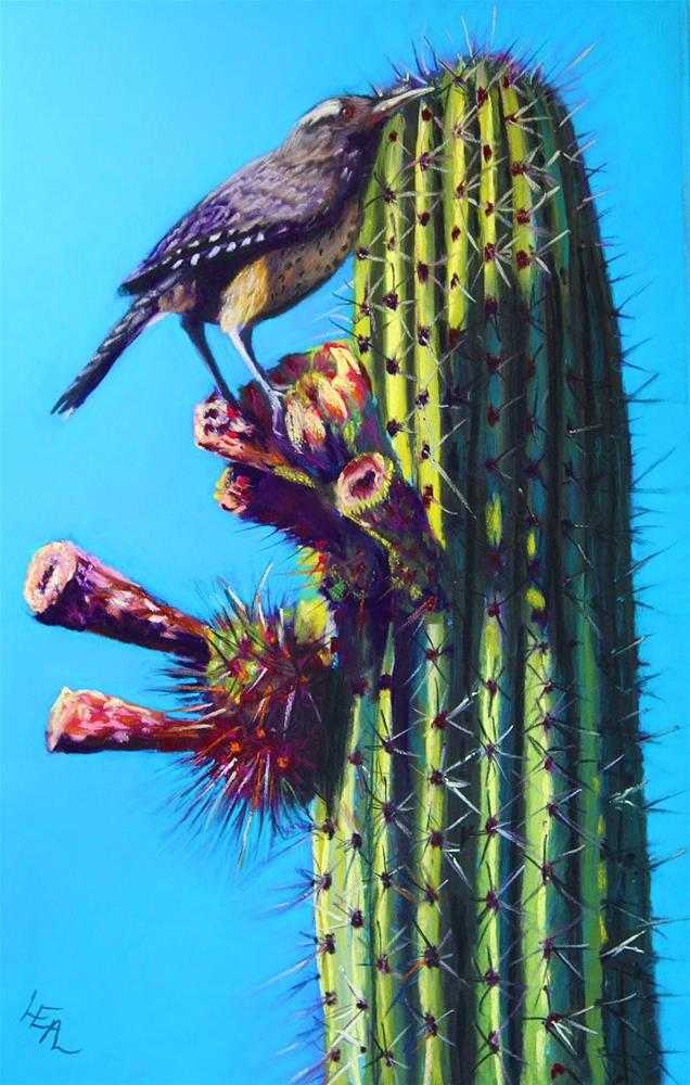 """Breakfast: Saguaro Side Up"" original fine art by Anna Lisa Leal"