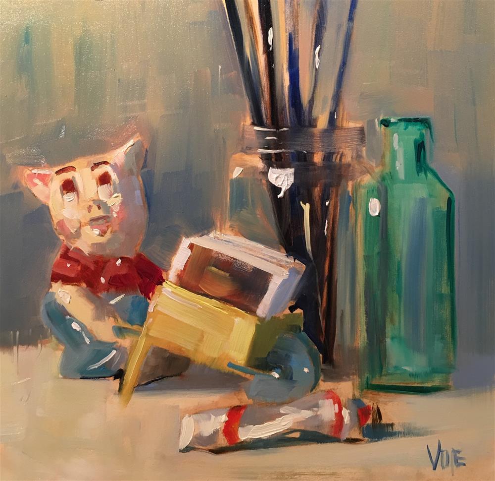 """#484 Friday Night in the Studio"" original fine art by Patty Voje"