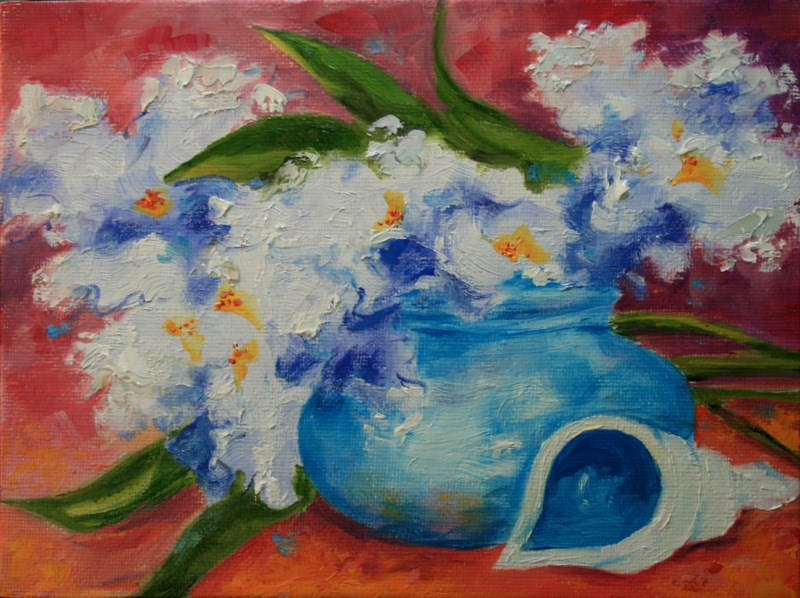 """Irises with Shell"" original fine art by Jean Nelson"