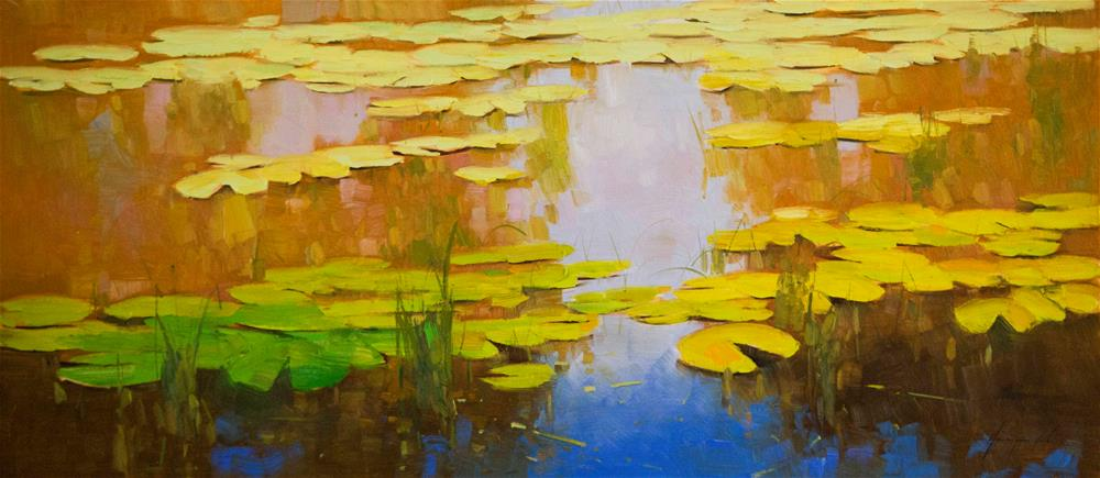 """Water lilies oil Painting Large size"" original fine art by V Yeremyan"