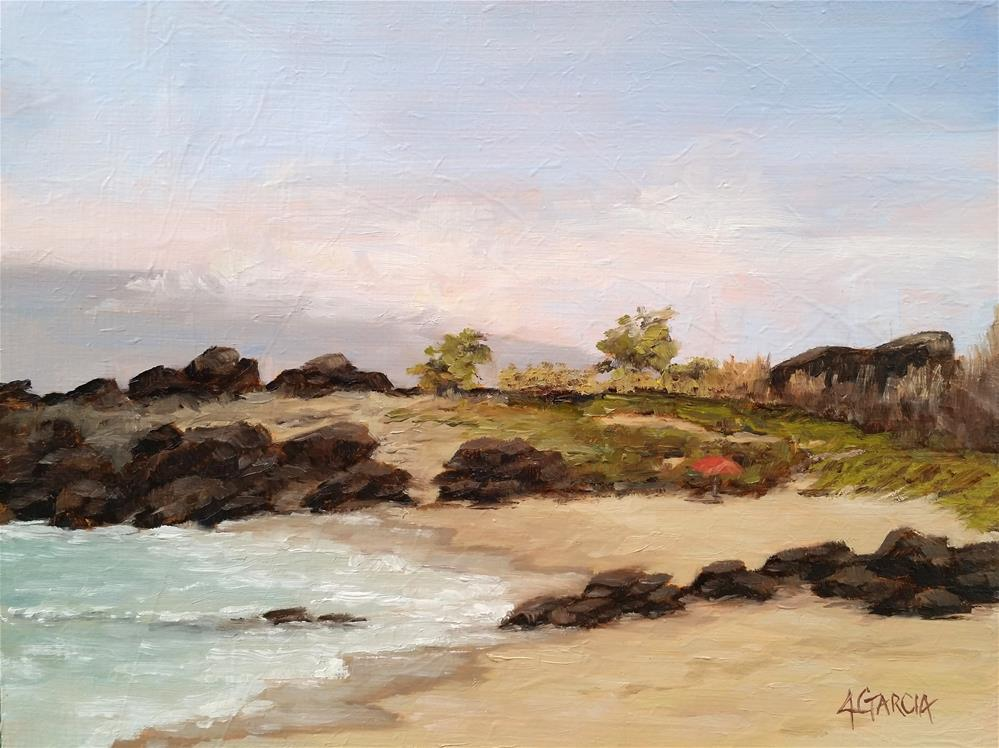 """Morning Dip at Kua Bay"" original fine art by Jeannie Garcia"