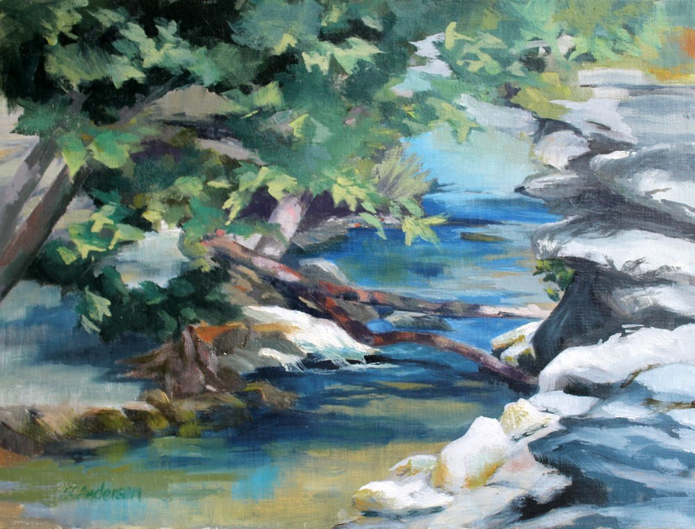 """Cool creek"" original fine art by Susan Andersen"