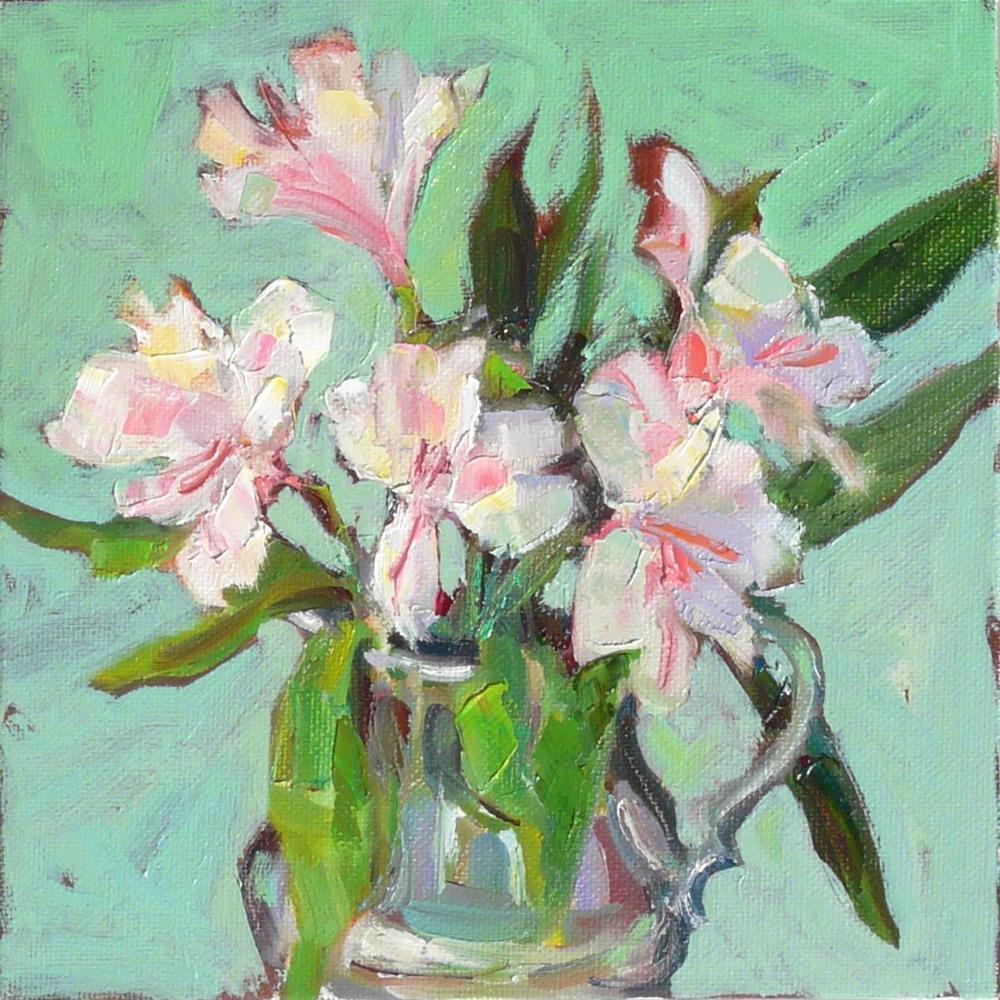 """Freesia Flowers,still life,oil on canvas,8x8,price$200"" original fine art by Joy Olney"