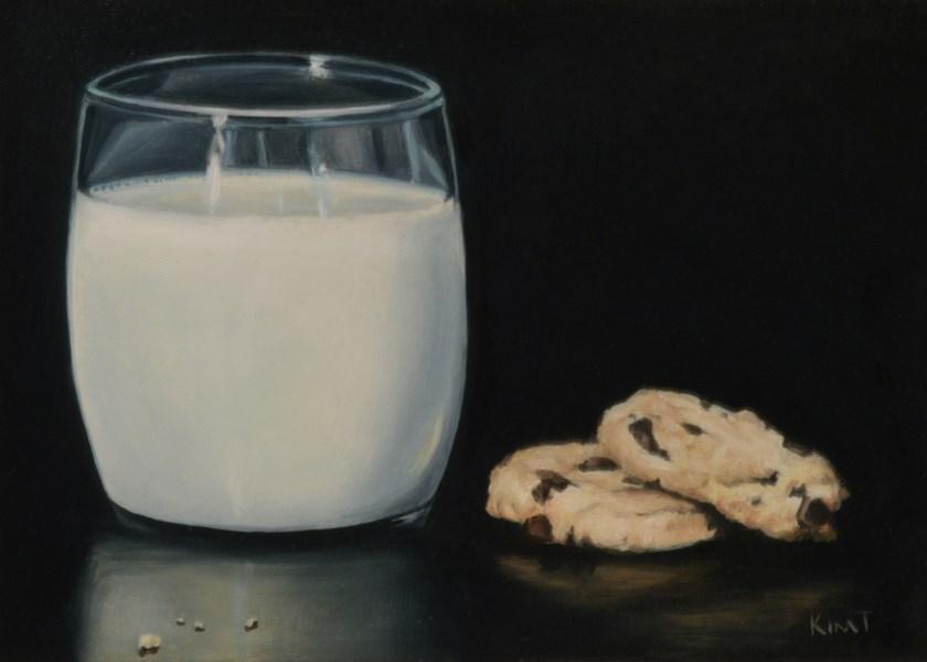 """Chocolate Chip Cookies and Milk"" original fine art by Kim Testone"