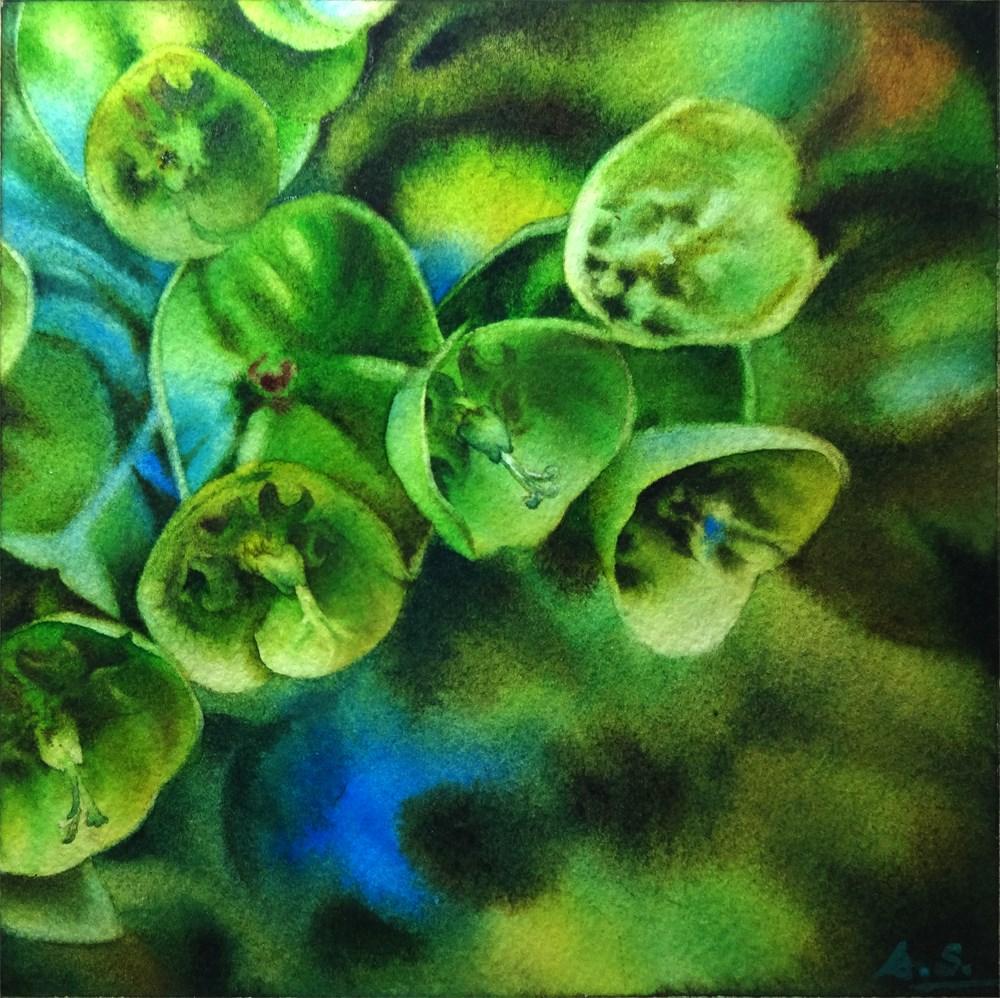 """Green Bells of Ireland"" original fine art by Arena Shawn"