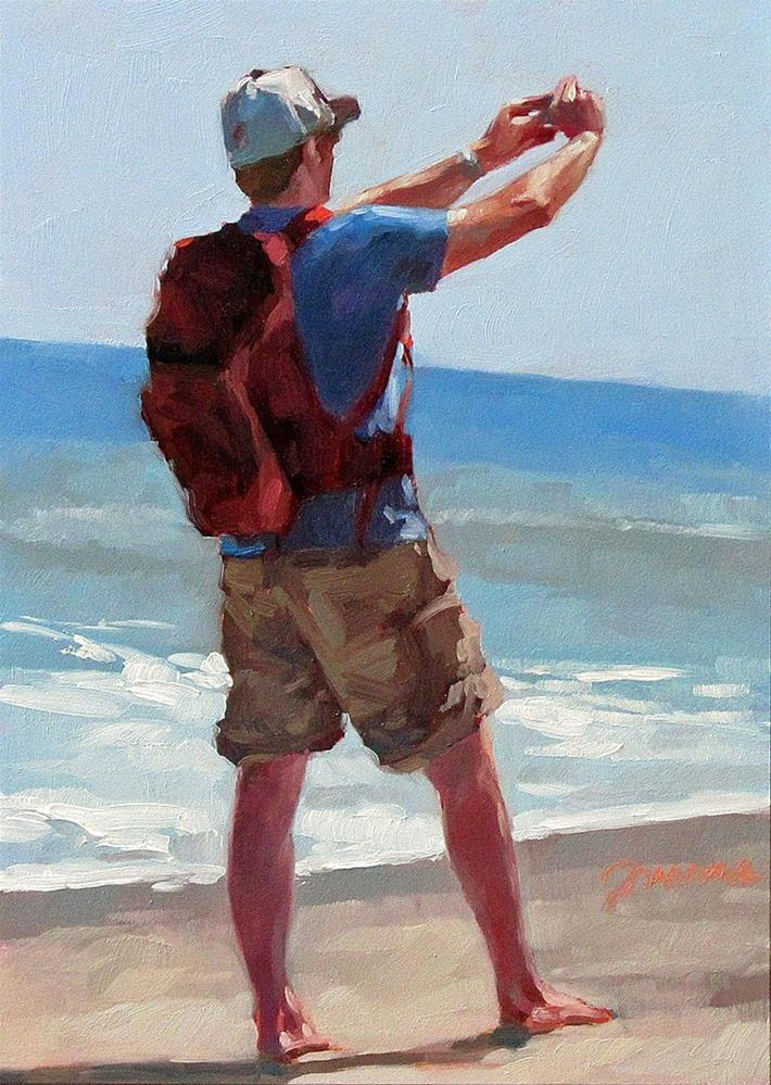 """Just Arrive--Painting of Beach Selfies"" original fine art by Joanna Bingham"