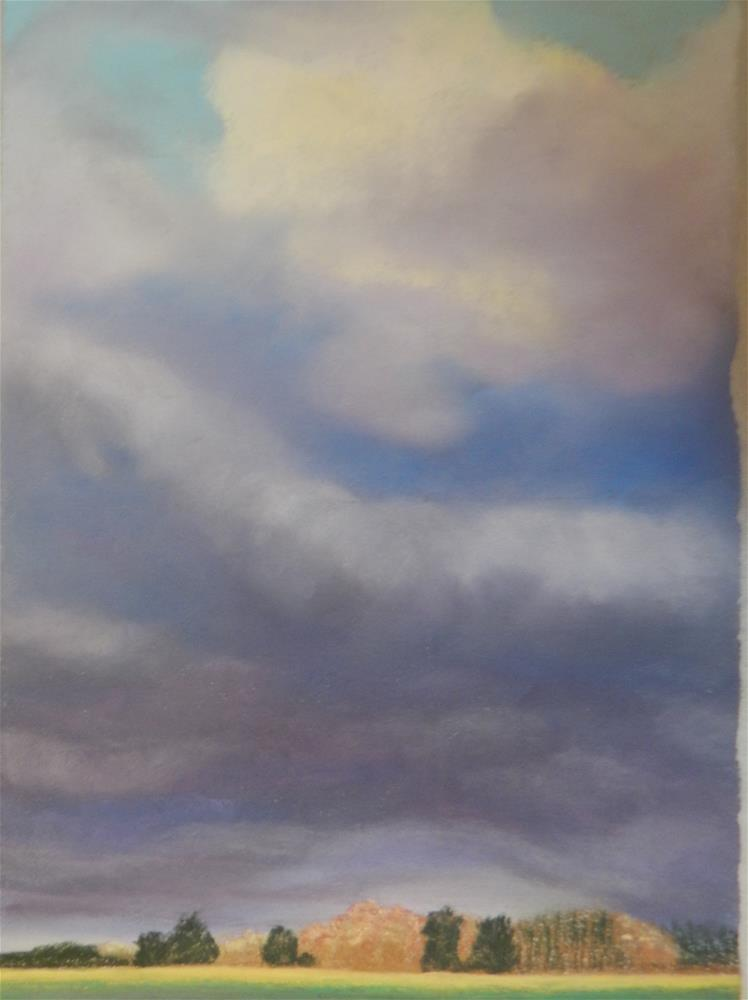 """Storms Clouds over Farm Fields"" original fine art by Elaine Shortall"